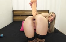 MILF loves big rubber toy in the ass